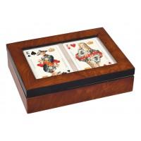 Dřevěná luxusní krabička Bridž/rummy prázdná